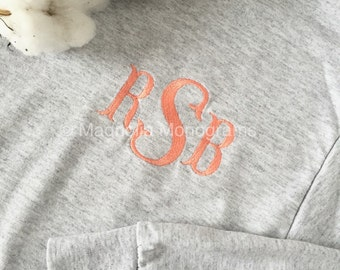 Monogrammed Shirt, Long-sleeve shirt, Monogram Long-Sleeve T-Shirt, Embroidered Shirt, Monogram shirt