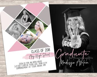 Girls Class of 2018 Graduation Announcement downloadable photoshop template
