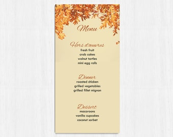 Printable Menu, Autumn menu, wedding menu, rustic menu, leaves wedding menu, printable menu, wedding menu, fall wedding menu, orange wedding