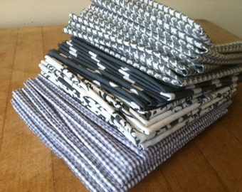 Grey Cloth Cocktail Napkins, Set of 6, Wine, Cheese, Hors d' oeuvres, Appetizer, by CHOW with ME