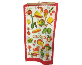 Vintage Calories Towel - Calories Dish Towel - Kitchen Towel - Linen Tea Towel
