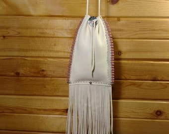 Elk Skin Handmade Pouch/ Bag , Glass and Nickle beads fringed