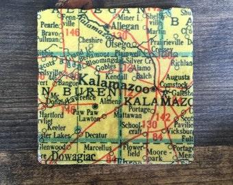 Kalamazoo Michigan Map Coaster with cork backing Allegan Decatur Dowagiac Ostego Pearle