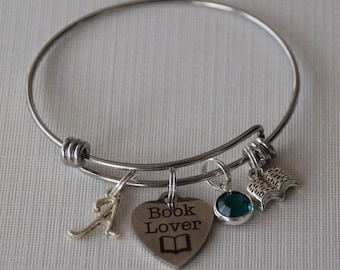 Book lover bracelet, gift for book lover, teacher gift, reader gift, gift for writer, author gift