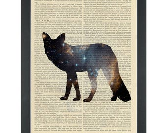 Fox with night sky and stars on his  body Dictionary Art Print