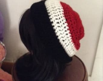 Black White and Red Striped beanie
