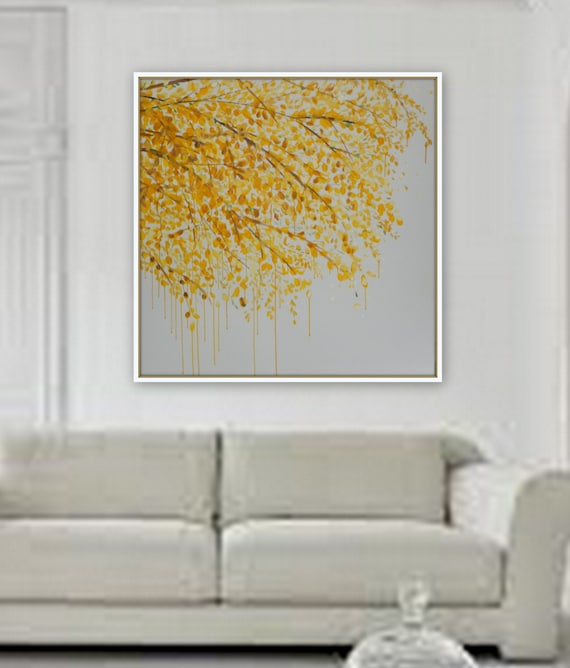 SAMPLE of Large yellow tree painting painting wall art Tree flower art canvas painting original yellow white Huge 48 x 48 ready to hang