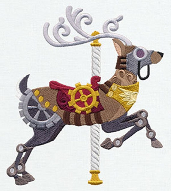 Steampunk carousel deer machine embroidery quilt blocks for Embroidery office design version 9