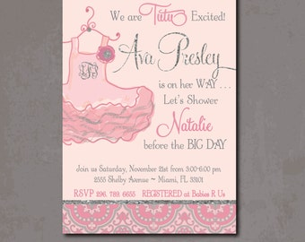 Tutu Baby Shower Invitation Printable/Digital File/Tutu Excited, Baby Girl  Shower,