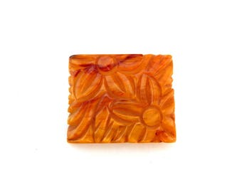 Carved BAKELITE Pin, Marbled Butterscotch Bakelite Square Floral Brooch, Large Deeply Carved Bakelite Pin, Estate Jewelry