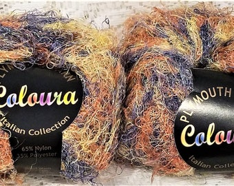 Plymouth Coloura Yarn, Metallic, Eyelash, Novelty, Sparkle, Color #621, Purple, Yellow, Orange, Qty 2