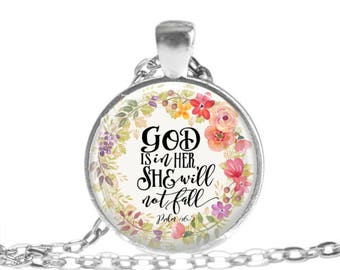 God is in Her Psalm 46 5 Scripture Jewelry Scripture Necklace Christian Jewelry Bible Verse Keychain Christian Gift Mothers Day Gift for her