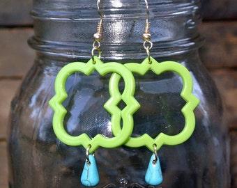Lime Green Quatrefoil Earrings