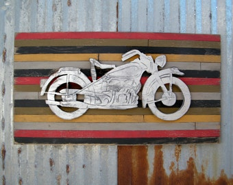 Motorcycle Art Pallet Sign Motor Bike