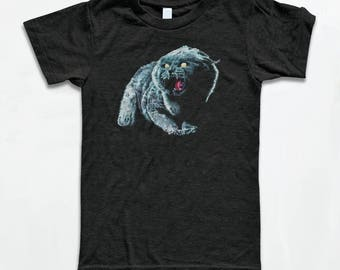 Church T Shirt - Black Cat - Tri-Blend Vintage Apparel - Graphic Tees for