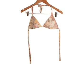 70s Greek Statue Faces Collage Photoprint Cotton Boho Bikini Top Handmade size Small