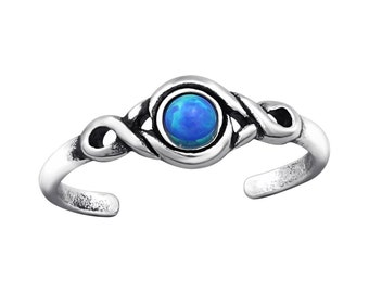 Sterling Silver Opal Patterned Toe Ring