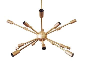 16 Arm Mid Century Atomic Starburst Sputnik Ceiling Light UL Listed