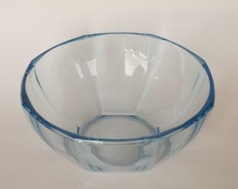 Light Blue Glass Fruit Bowl/ German Vintage/ Salad Bowl/ Blue Kitchenware