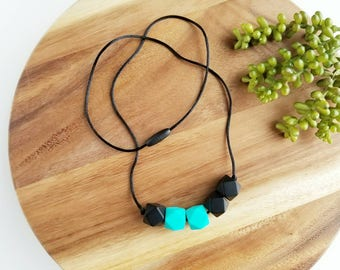 Silicone Teething Necklace for Mom-Silicone Baby Teether- Chew Necklace-  Nursing Necklace for Mom- Black and Turquoise Combo