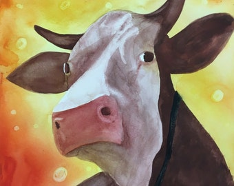 Western Cow Art Painting, Sitting Bull Original Watercolor Animal Artwork, Farmhouse Decor, Rustic Cabin Decor, Office Wall Farm Rural Art