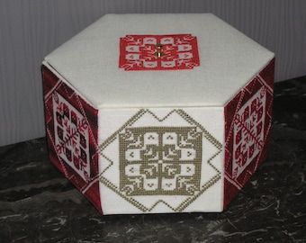 Red embroidered box and taupe with lace