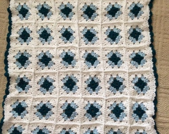 Hand crocheted granny square baby afghan blue, teal and white