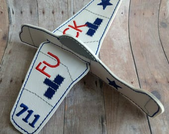 MATURE- Flying F---- Airplane, White Vinyl With Embroidery, Great Gag Gift for Coworker, Friend, Novelty Gift for Adults, Joke Gift