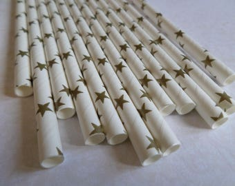 Set of 12 white straws with gold stars