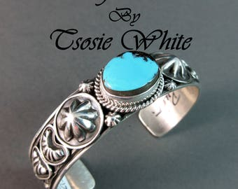 "Navajo~TSOSIE WHITE~Natural Pilot Mountain Turquoise/""Rug Design"" Sterling Shank~Traditional Navajo Cuff~Free Ship!"