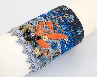 Cuff bracelet-ribbon-sequins-Fabric cuff beaded bracelet-Grey-blue-turquoise