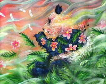 "Panda Art Tapestry - Large Format Art Tapestry - ""Midsummer's Eve"" by Black Ink Art"
