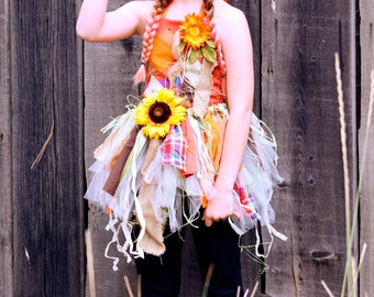 2017 Halloween Scarecrow orange burlap  three piece costume costumes for girls