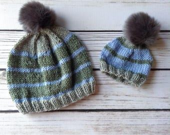 Blue Striped Mommy and Me Hats, Matching Hats, Wool Hats, Big Brother Little Brother, Big Sister Little Sister, Daddy and Me Matching Hats