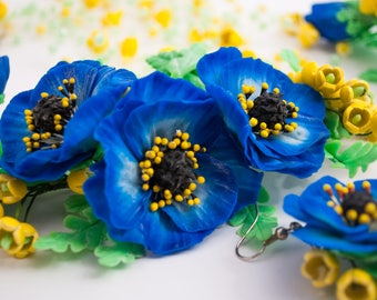 Anemone ‒ Floral jewelry set ‒ Necklace ‒ Hair twig ‒ Earrings ‒ Polymer clay ‒ Flowers necklace ‒ Nature theme