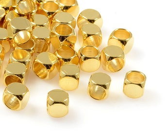 Round Cube Beads, 5mm, Tarnish Resistant, Gold Beads, Lead Free, Solid Brass Beads, Large Hole Beads, 4mm