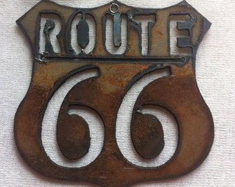3 Inch Route Rt 66 Shield 'Mother Road' Rusty Rustic Metal Art Ornament Craft Sign Vintage-y Rustic