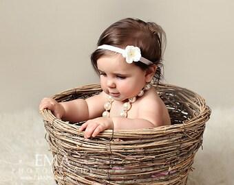 ivory Headband, cream headband, ivory newborn headband, ivory Flower Headband, ivory newborn photo prop, ivory baby headband, cream flower