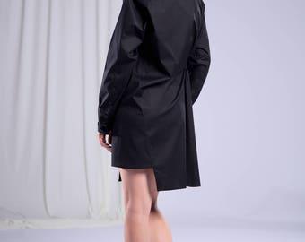 Asymmetric Shirt/Women's Black Top/Women's Cotton Shirt/Office Shirt/Minimalist Fashion/Women's Black Shirt/Bohemian Clothing/Formal Shirt
