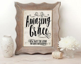 Amazing Grace Hymn Wall Art