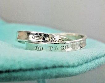 Tiffany & Co. Sterling Silver 1837 Interlocking Circles Double Ring Size 5