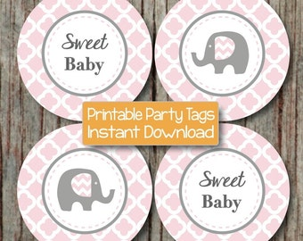 Powder Pink Grey Quatrefoil Elephant Baby Shower diy Cupcake Toppers Favor Tag Stickers Printable Party Sweet Baby INSTANT DOWNLOAD Girl 175