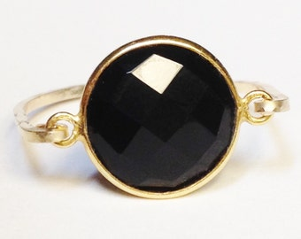 Black Onyx Ring, Black Onyx Gemstone, Gold Ring, 14K Gold Filled Ring, Black Onyx Jewelry