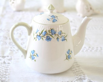 TEAPOT, Vintage, English Fine Bone China Diminutive Teapot by Crown Staffordshire, Bluebell Pattern, Replacement China,Tea Party