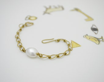 JIMOI‧Untitled-Pearl‧Brass Handmade Chain and link bracelets‧no.1