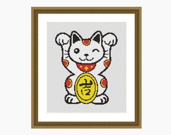 Cross Stitch Pattern, Modern Cross Stitch - 'LUCKY CAT' cross stitch chart - Downloadable PDFcross stitch pattern, cat cross stitch