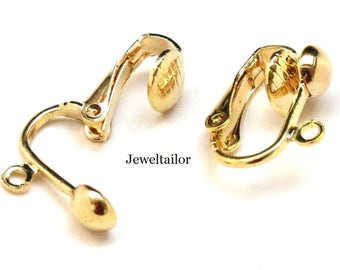 10 Gold Plated Nickel Free Clip On Earring Findings 16mm ~ Quality Findings For Jewellery Making