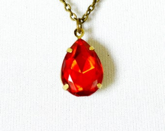 Fire Red Solitaire Teardrop Necklace, Vintage Glass Rhinestone Pendant in Antiqued Brass Setting, Estate Style Jewelry