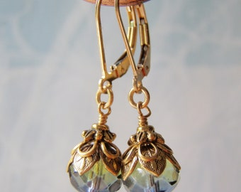 Sea Witch Earrings 14k Gold Filled Leverback Ear Wire 9x6mm Blue and Green Glass Dangle Handmade Shorter Style