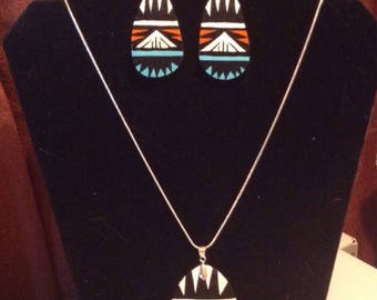 Southwest Native American gourd necklace and earring set